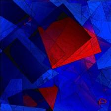 Dreieck rot auf blau